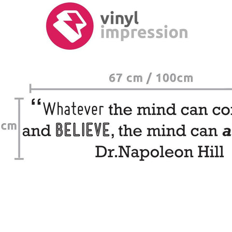 Sizing chart for Dr Napoleon Hill motivational quote wall art sticker decal from vinylimpression.co.uk