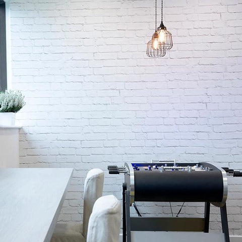 industrial effect white brick wall mural