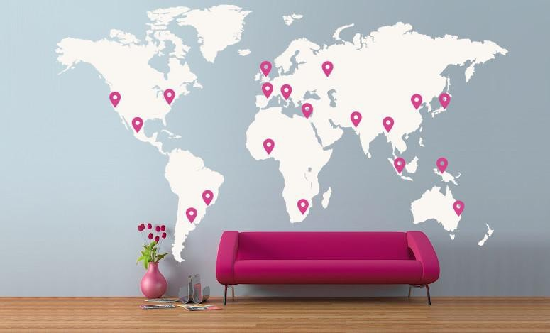 ... Extra Large World Map Vinyl Wall Sticker In By Vinyl Impression ...