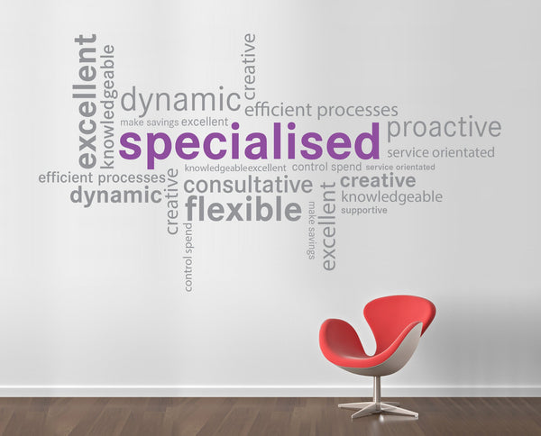 Word cluster wall stickers vinyl impression for Office interior design quotes