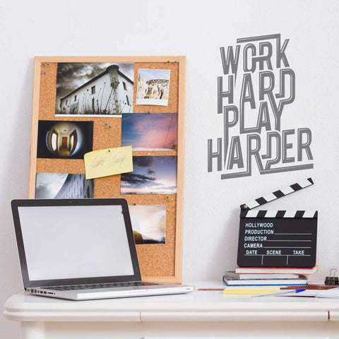 Work hard play harder office mock up