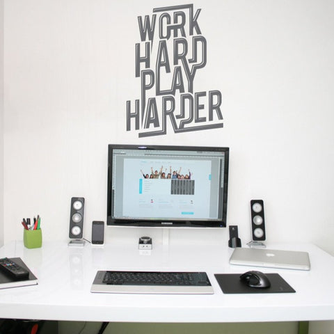 Typographic wall art decal of text 'Work hard play hard'. Wall stickers and wall art decals for home and office