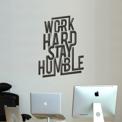Work Hard Wall sticker in black for removable motivational quote