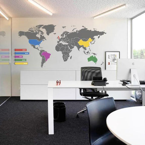 World Map Infographic Wall Sticker Infographic Wold Map Vinyl Wall Sticker  Decal Wall Art Transfer Part 77