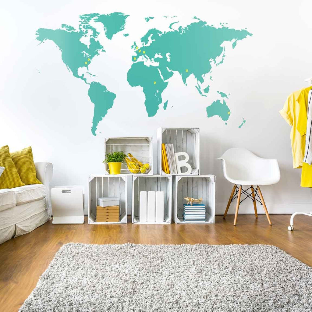 world map wall sticker vinyl impression large world map wall decal sticker 7ft x 3 47ft vinyl wall
