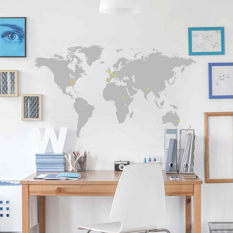 World map wall stickers vinyl impression world map vinyl wall sticker world map vinyl wall sticker gumiabroncs Gallery