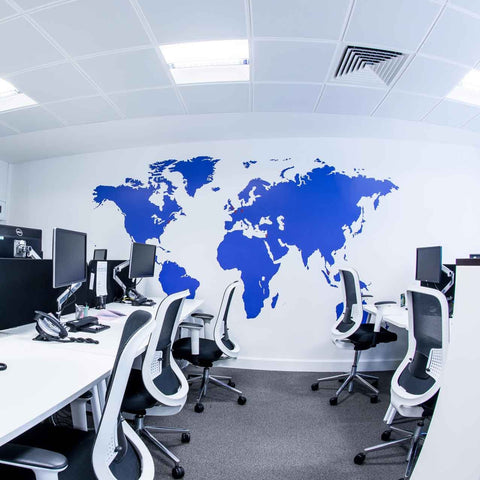 Extra Large Office World Map Vinyl Wall Sticker
