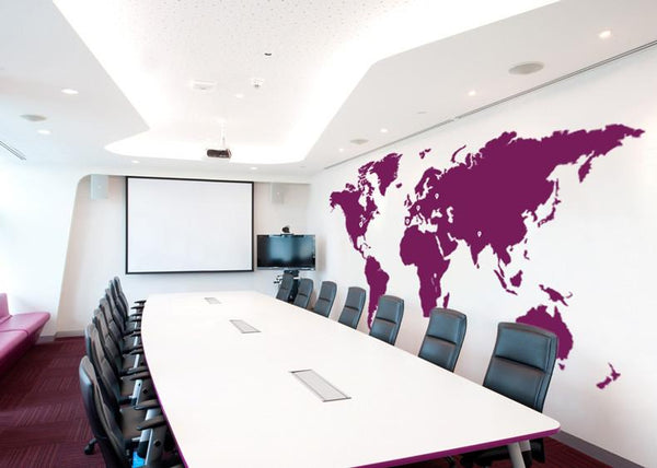 Extra Large Office World Map Vinyl Wall Sticker in  by Vinyl Impression