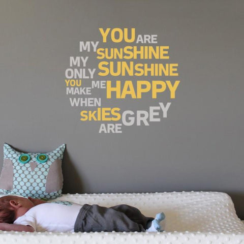 You are my sunshine nursery rhyme wall sticker decal. Wall art for kids