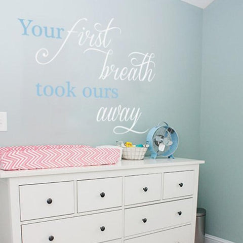 Nursery Room Decor -First Breath - By Vinyl Impression