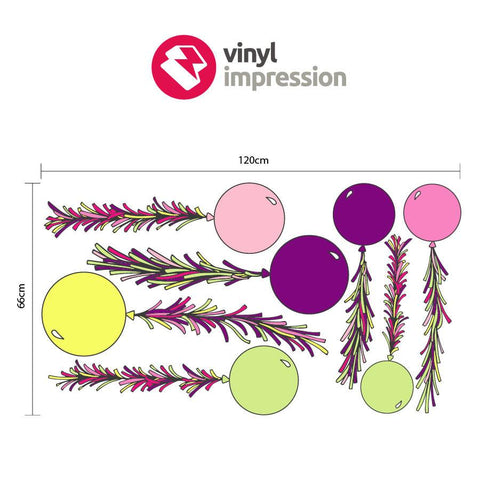 Sizing chart for balloon pack vinyl wall sticker graphic for interior design
