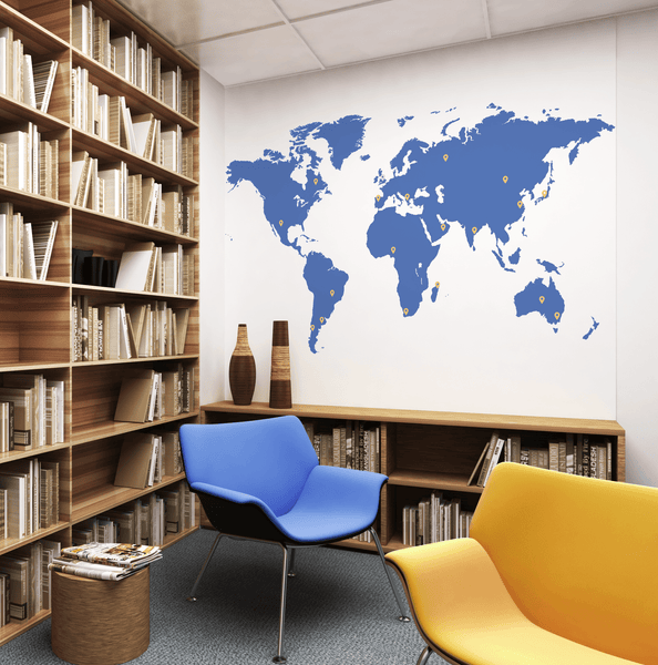Brand Coloured Printed World Map in Office by Vinyl Impression