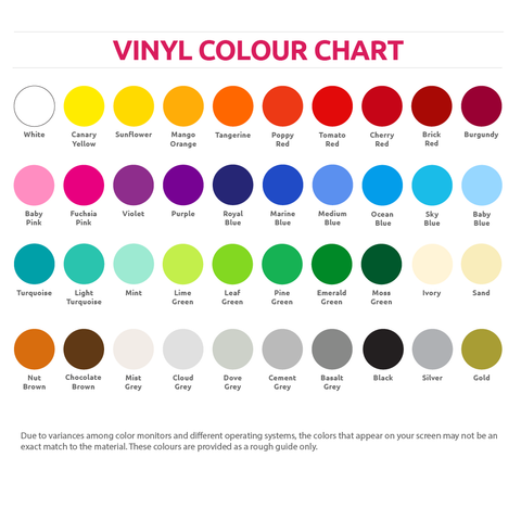 Vinyl Impression colour chart