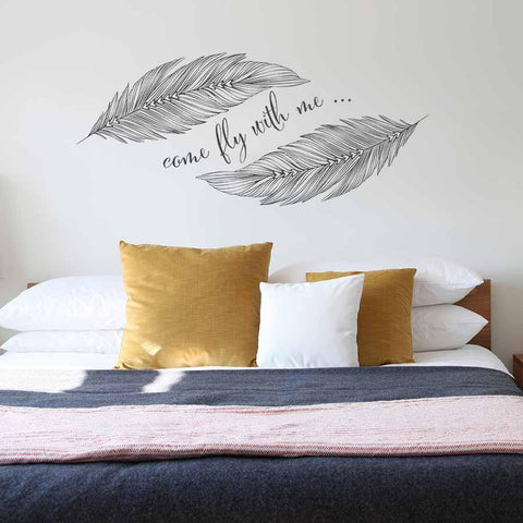 Romantic feather wall art decal for homes.