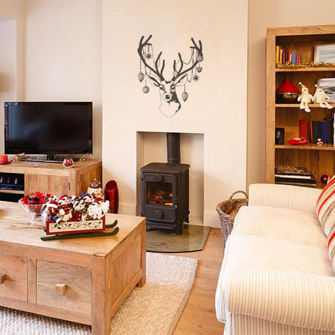Christmas Deer Head with Baubles decoration wall sticker