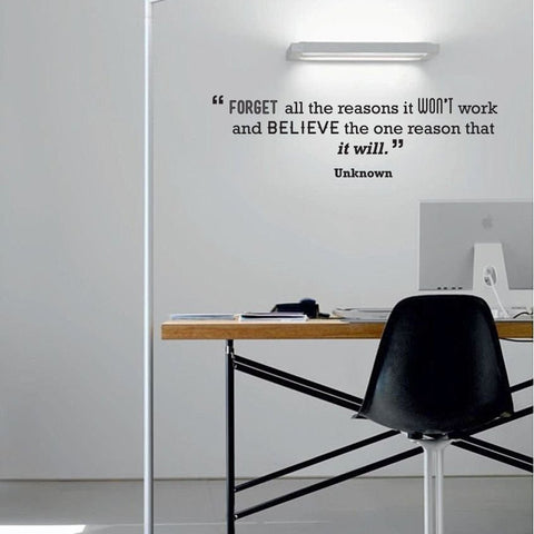 Removable Office wall Decal. Believe motivational quote wall sticker decal