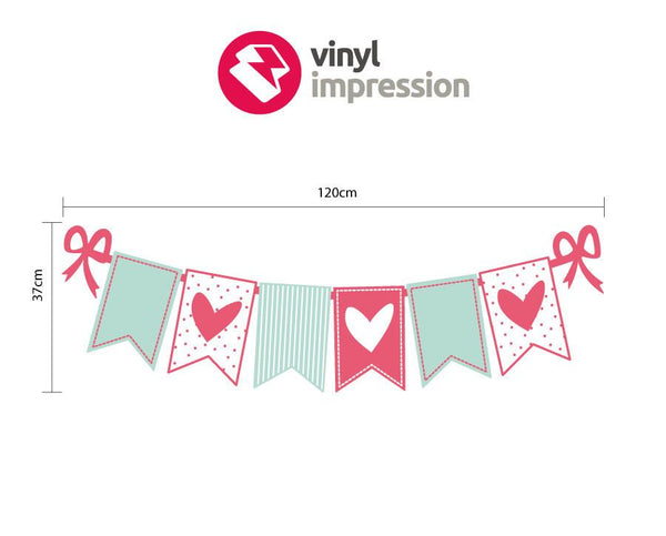 Heart bunting wall sticker in Love by Vinyl Impression