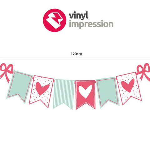 Heart bunting wall art decal sticker graphic