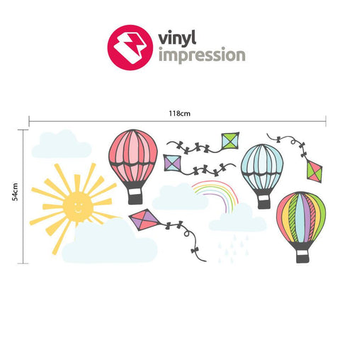Sizing chart for hot air balloon wall sticker mini decals