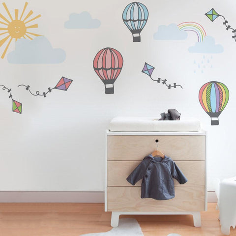 Hot air balloon pack of wall stickers and mini decals for bedrooms and baby's nurseries