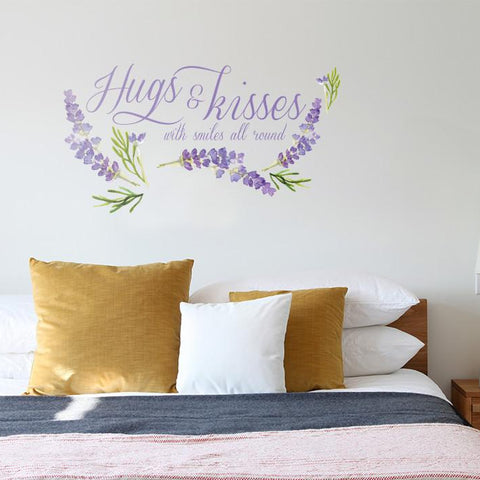 Hugs and Kisses product mockup above a bed
