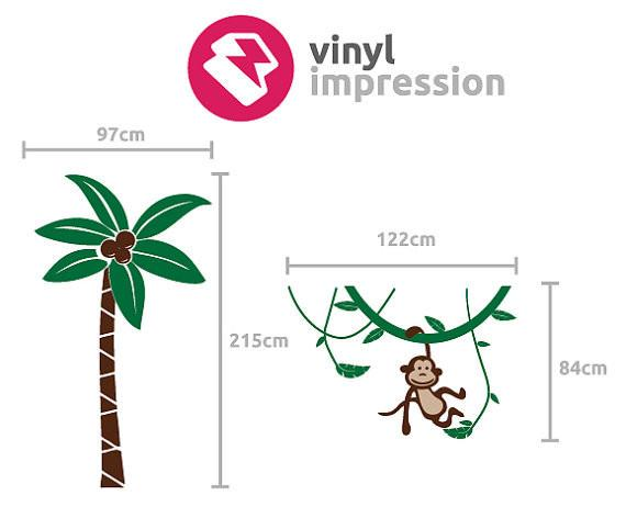 Palm Tree and Monkey Vinyl Wall Sticker Life Size in  by Vinyl Impression