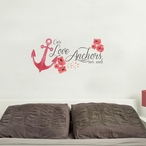 love anchor mock up above a double bed - square crop