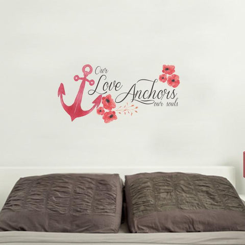 love anchor mock up above a double bed