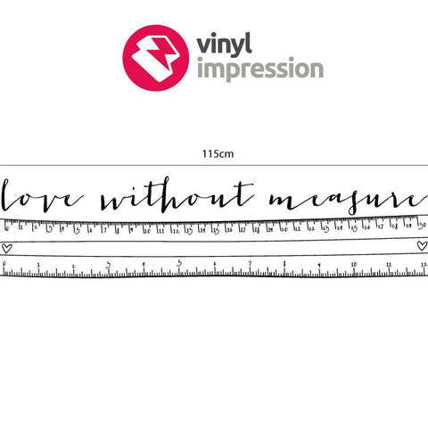 Sizing chart for love without measure wall art decal sticker graphic