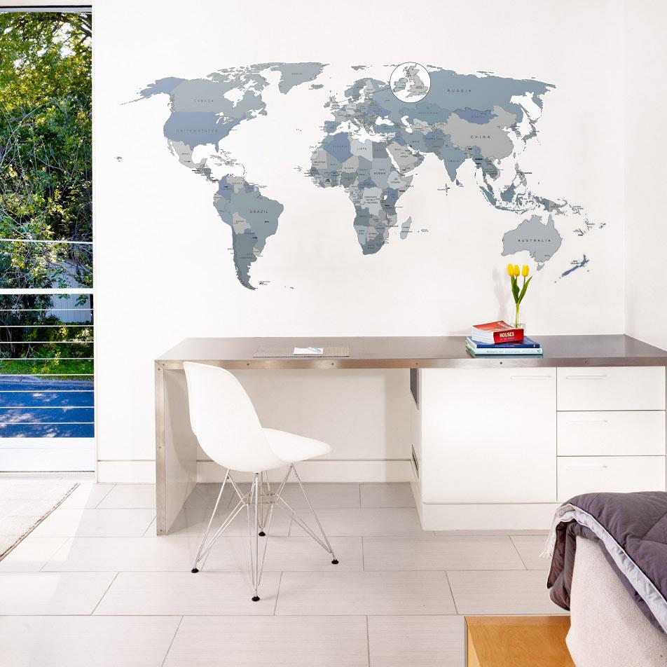 World map office wall sticker decal neutral colours with pins printed world map uk highlighted wall sticker in by vinyl impression gumiabroncs