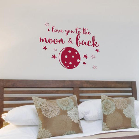 Moon and back sticker mockup above bed - square crop