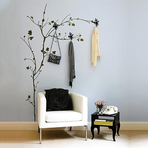 Tree with hooks vinyl wall sticker decal in black.