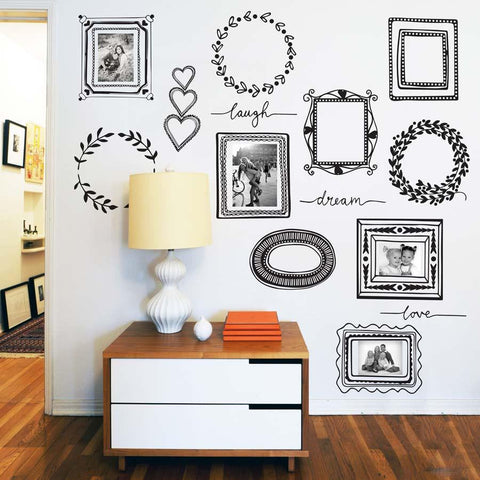 Pack of picture frames wall sticker decal set for homes and offices.