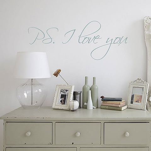 PS I love you romantic quote wall sticker for above the bed