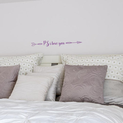 p.s. I love you sticker mock up above bed