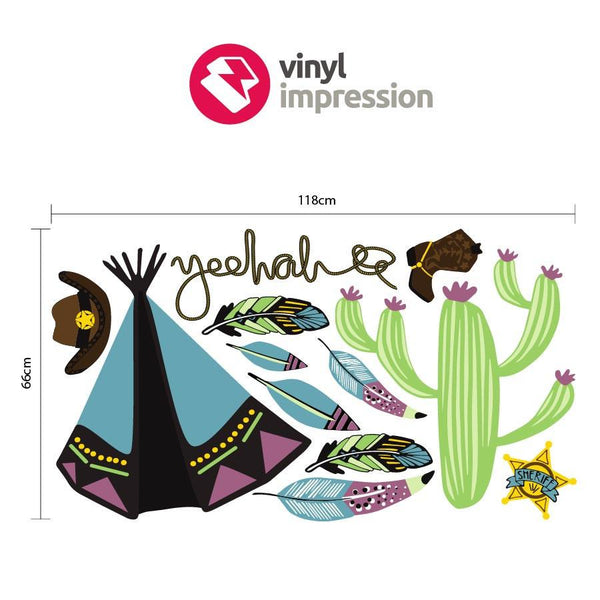 Cowboys and Indians wall sticker pack in  by Vinyl Impression
