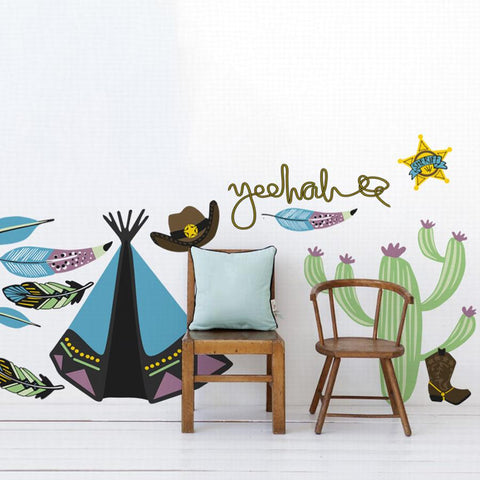 Cowboys and indians wall sticker for boys bedrooms. Native american wall art and wild west decals