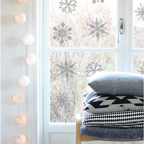 Removable frosted Christmas window decorations