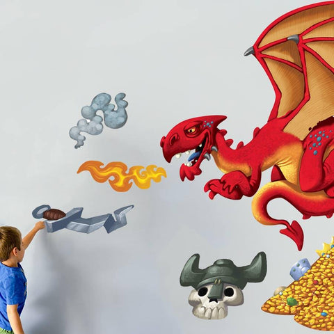 Dragon hunter wall sticker decal. Bright and colourful wall stickers and decals for boy's bedrooms.