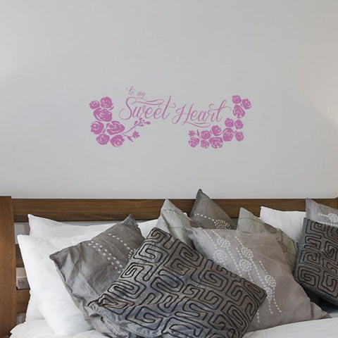 Sweetheart sticker mockup above bed - square crop