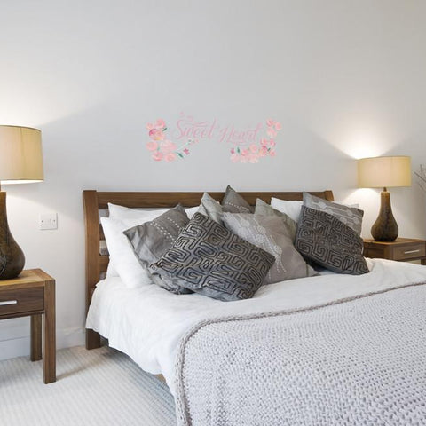 Sweetheart printed sticker mockup above bed