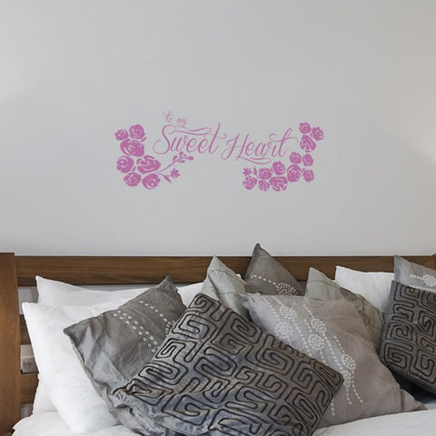 Sweetheart sticker mockup above bed
