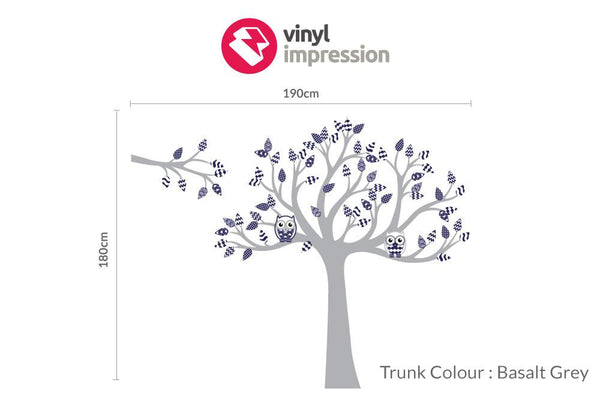 Tree with pattern leaves -Navy in  by Vinyl Impression