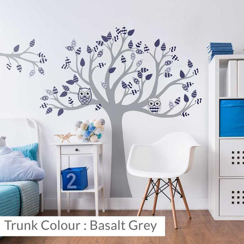 Tree with patterned leaves Navy wall sticker