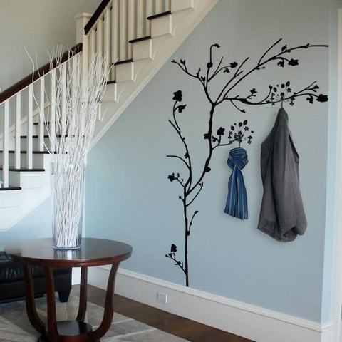 Nature wall sticker. Tree wall art sticker with hooks for home interior design
