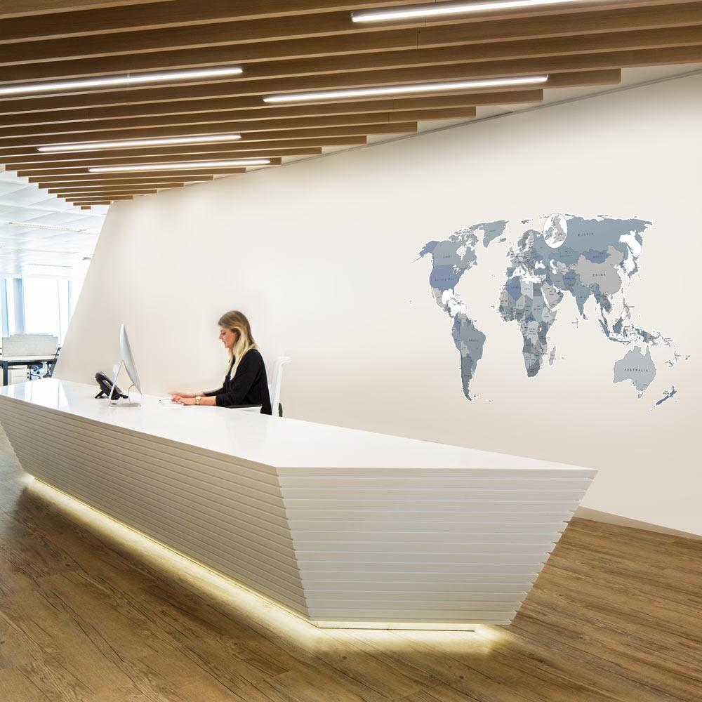 World Map Office Wall Sticker Decal Neutral Colours With Pins - Floor to ceiling world map
