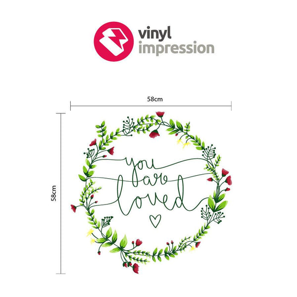 Floral you are loved wreath wall sticker in Love by Vinyl Impression