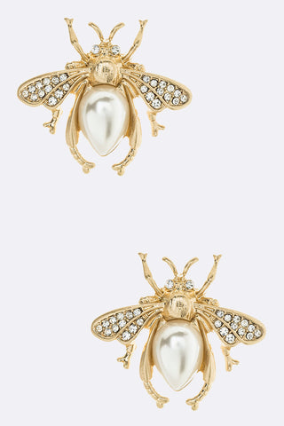 Pearl Accent Crystal Iconic Fly Stud Earrings