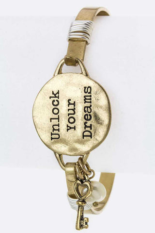 Unlock Your Dreams Engraved Disk Hook Bangle
