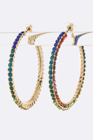 Mix Color Crystal Iconic Hoop Earrings